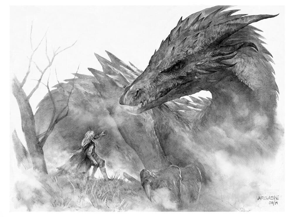 Glaurung and Nienor by Randy Vargas, Spain | The Lord of The Rings Fan Art Collection 2020