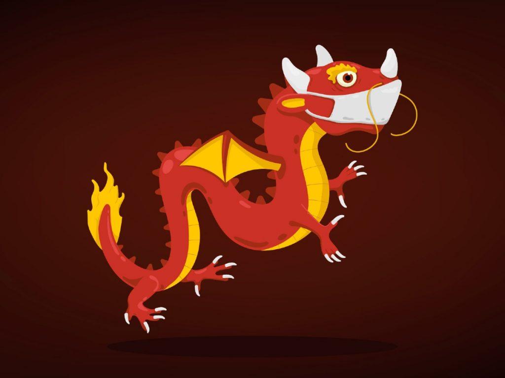 Dragon wearing a mask by Emir Simsek, Japan | Coronavirus Inspired Artworks by Freelancers Around the World