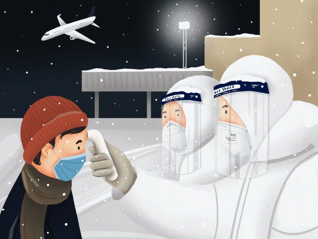 Avoid traveling abroad by Binderiya Sanduijav, Mongolia | Coronavirus Inspired Artworks by Freelancers Around the World