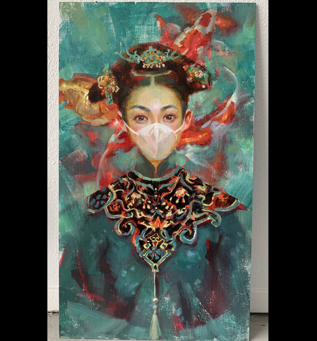 Coronavirus inspired Qing Dynasty self portrait by Shelly Wan, USA | Coronavirus Inspired Artworks by Freelancers Around the World
