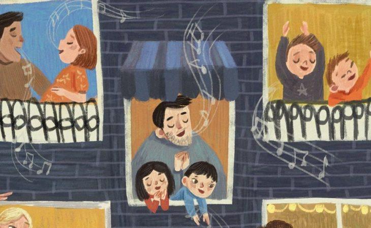 Illustration inspired how the Italians sang on the balcony during the coronavirus quarantine. Made by Lenny Wen