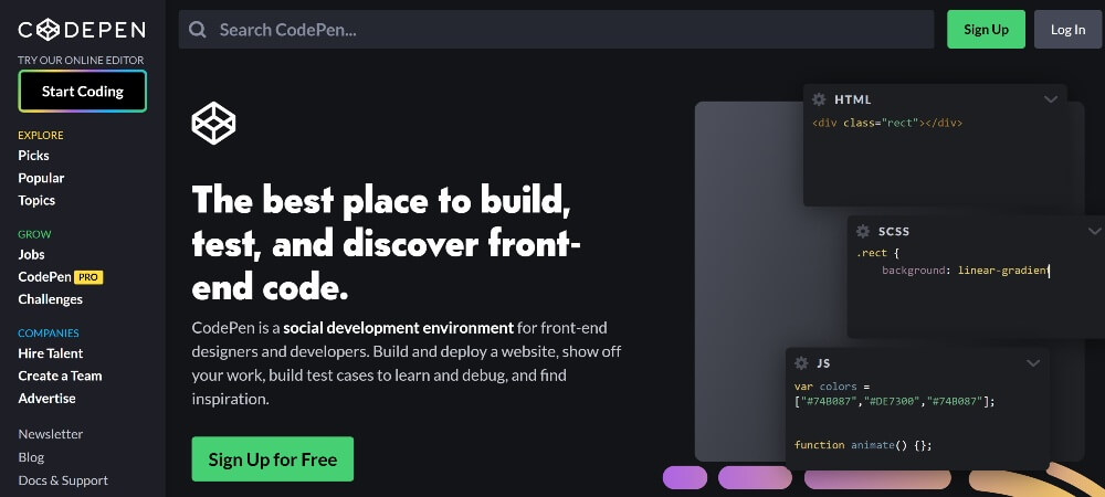 Codepen on Best Freelance Websites to Start Your Freelance Career in 2020 by Huntlancer