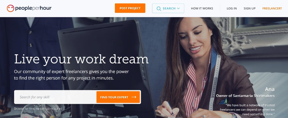 Peopleperhour on Best Freelance Websites to Start Your Freelance Career in 2020 by Huntlancer