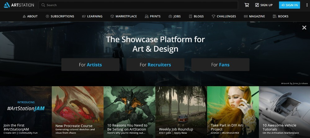 ArtStation on Best Freelance Websites to Start Your Freelance Career in 2020 by Huntlancer