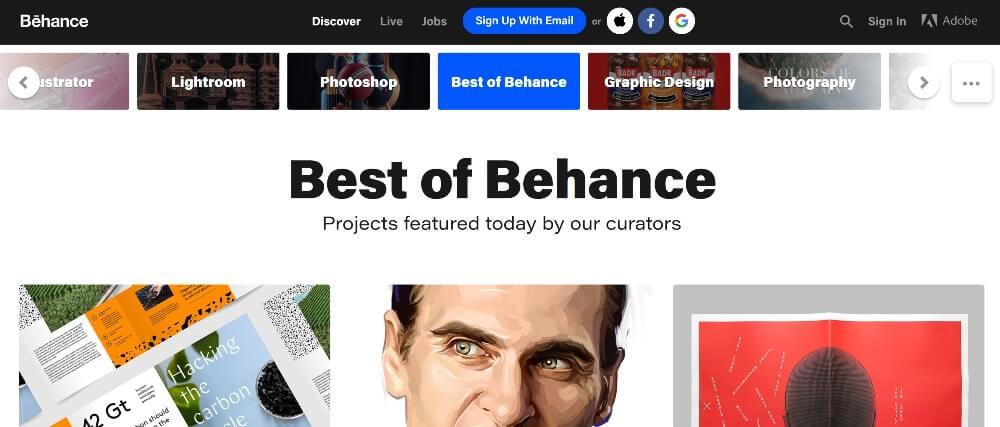 Behance on Best Freelance Websites to Start Your Freelance Career in 2020 by Huntlancer