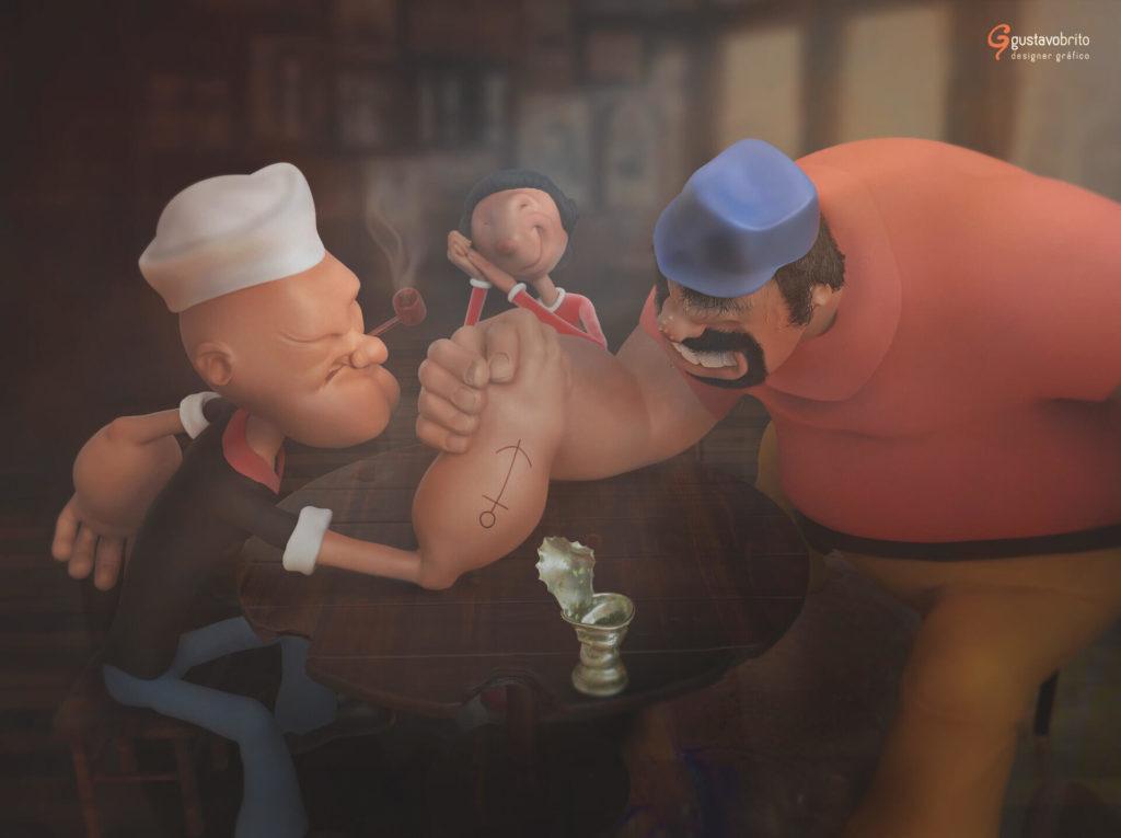 The World of Gene Deitch | Arm Wrestling - Popeye and Brutus by Gustavo Brito, Brazil