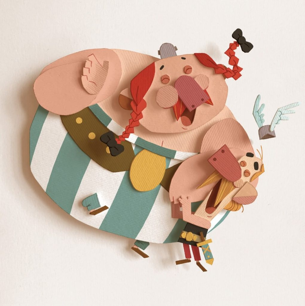 Creative Paper Artists on Huntlancer | Asterix and Obelix by Marco Raffaelli, Italy