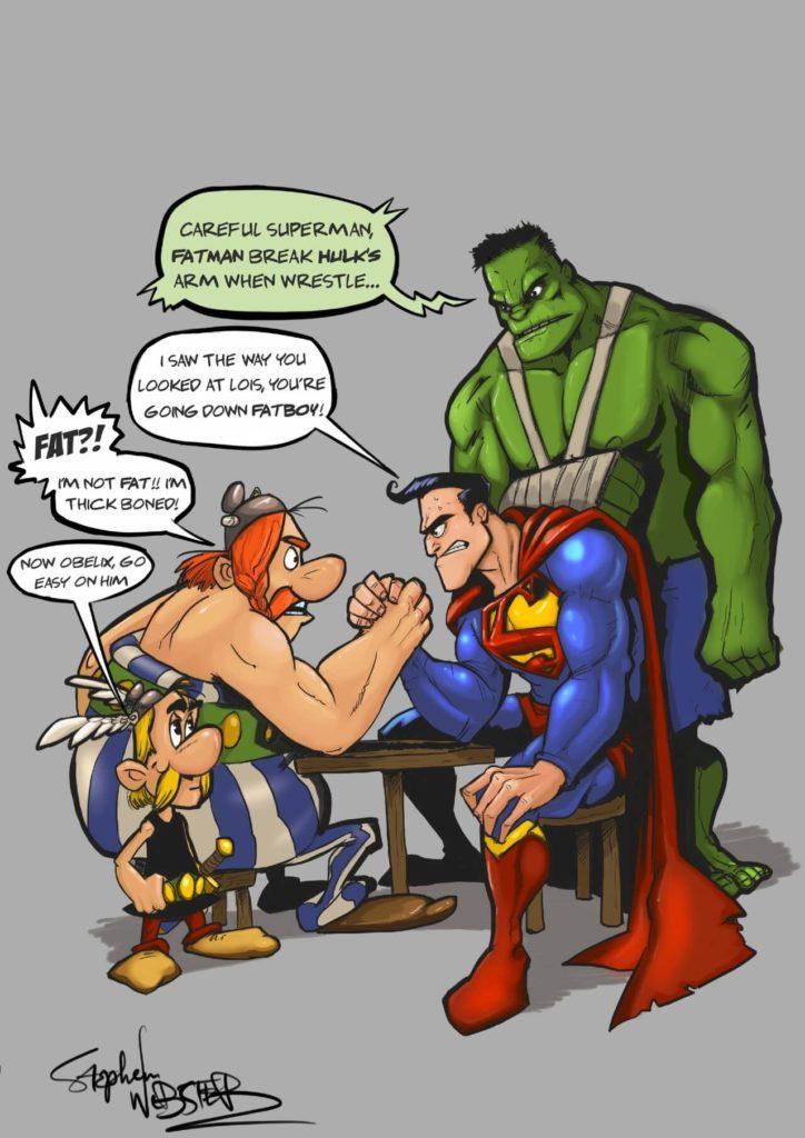 Obelix vs Superman by Stephen Webster, USA - Huntlancer