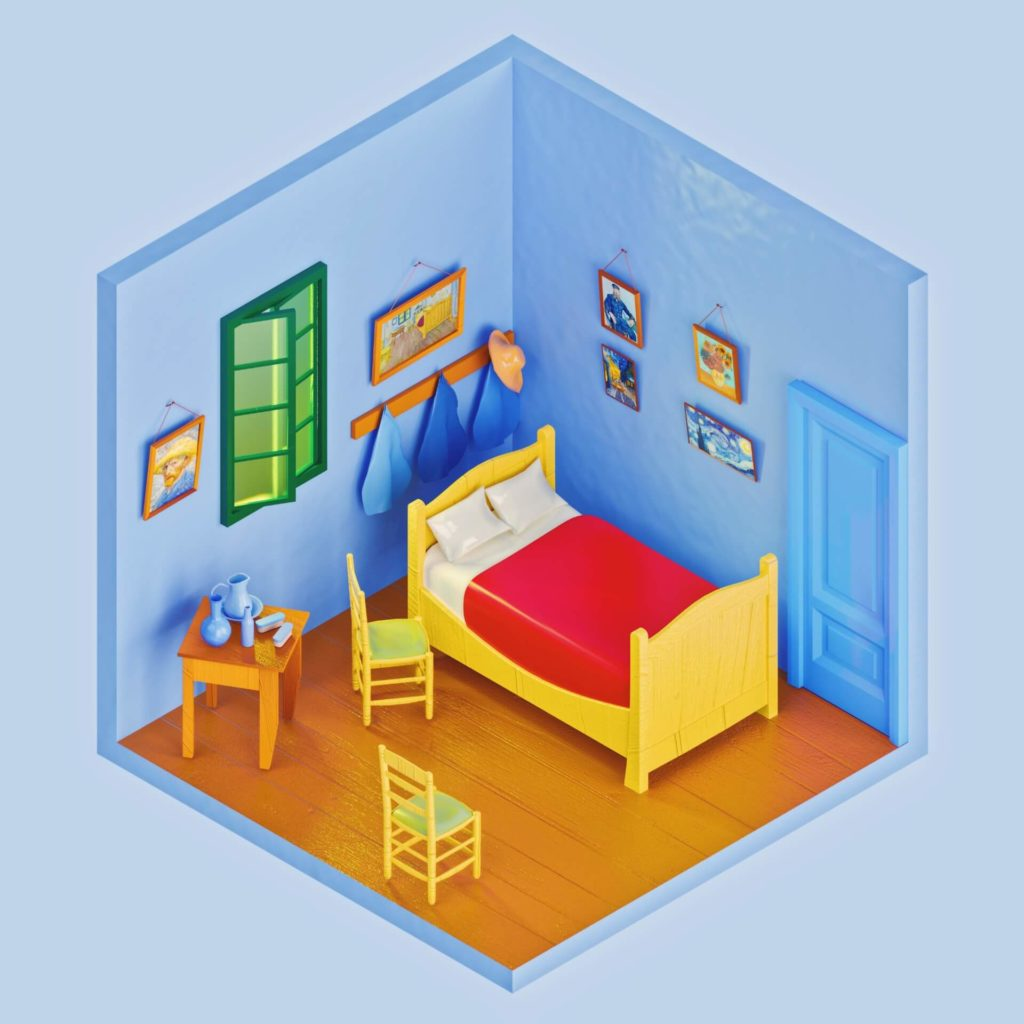 The Rooms Project on Huntlancer | Vincent Van Gogh Bedroom in Arles.