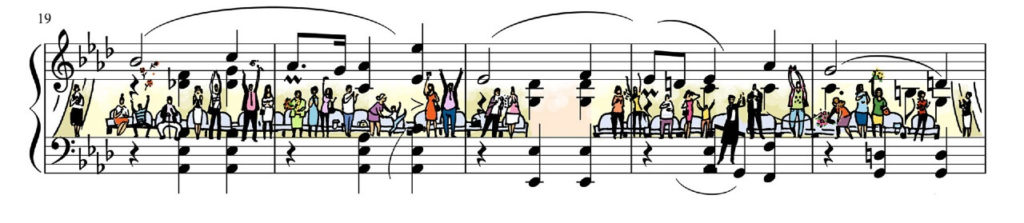 Sheet Music Art in Detail by Russian Studio 'People Too' - Fragment