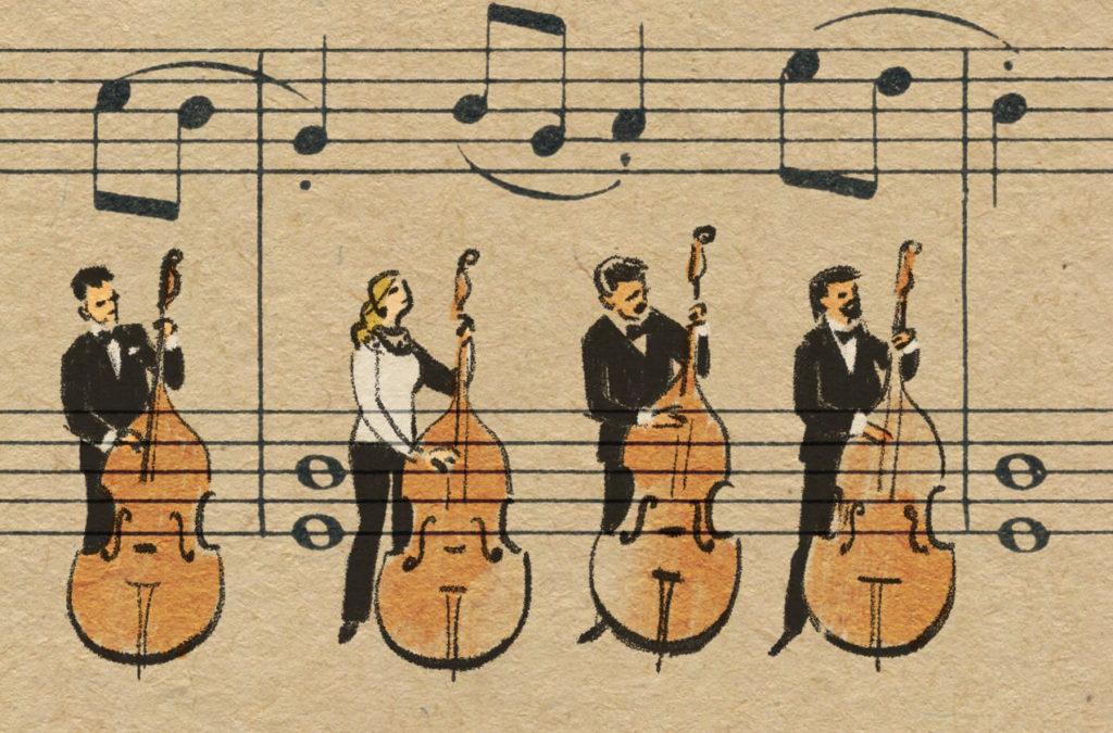Sheet Music Art in Detail by Russian Studio 'People Too' - Excerpt from Violinka, Doublebass