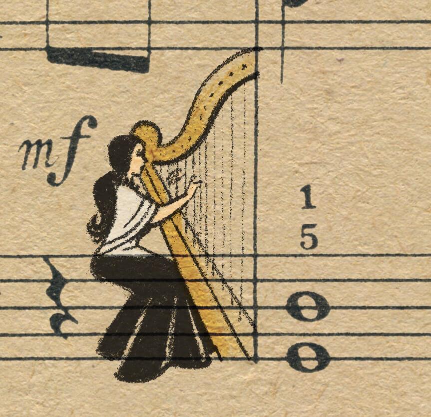 Sheet Music Art in Detail by Russian Studio 'People Too' - Excerpt from Violinka - Harp