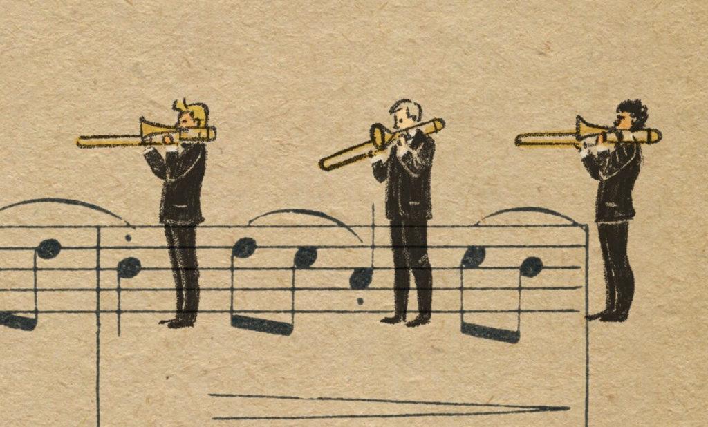 Sheet Music Art in Detail by Russian Studio 'People Too' - Excerpt from Violinka - Trombones