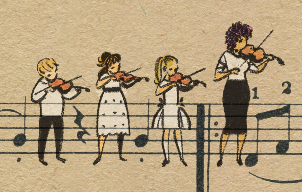 Sheet Music Art in Detail by Russian Studio 'People Too' - Excerpt from Violinka - Strings