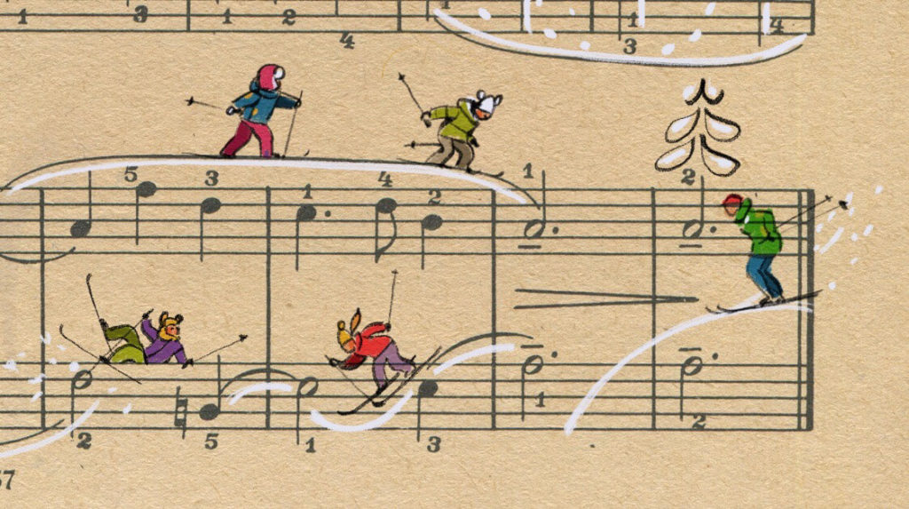 Sheet Music Art in Detail by Russian Studio 'People Too' - Excerpt 4 from Siberian means the skier