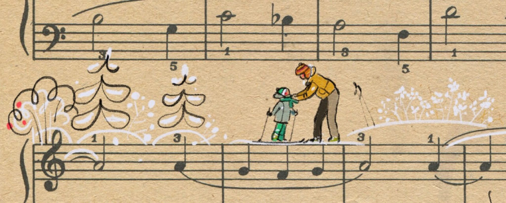 Sheet Music Art in Detail by Russian Studio 'People Too' - Excerpt 3 from Siberian means the skier