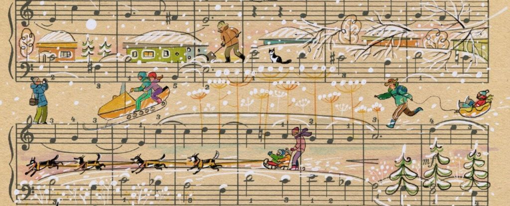 Sheet Music Art in Detail by Russian Studio 'People Too' - Excerpt 2 from Siberian means the skier
