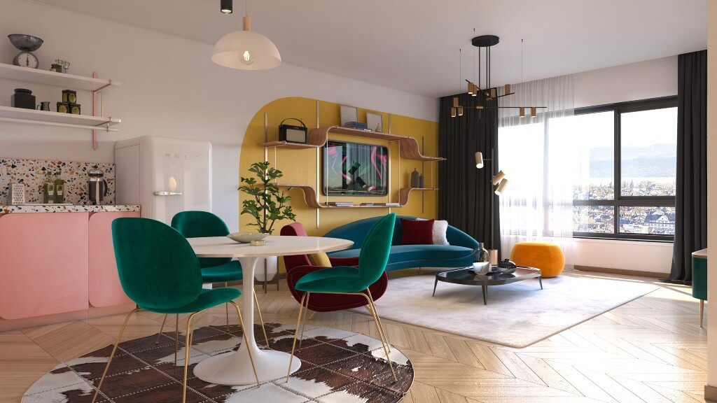Retro Eclectic Studio by Manar Mostafa, Egypt | Freelance Interior Designers: Inspiring Living Room Design Styles on Huntlancer
