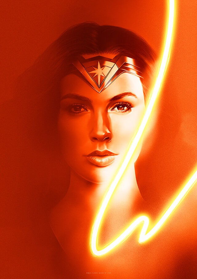Iconic Movie Poster Remakes: Wonder Woman (2017) Poster by Flore Maquin, France