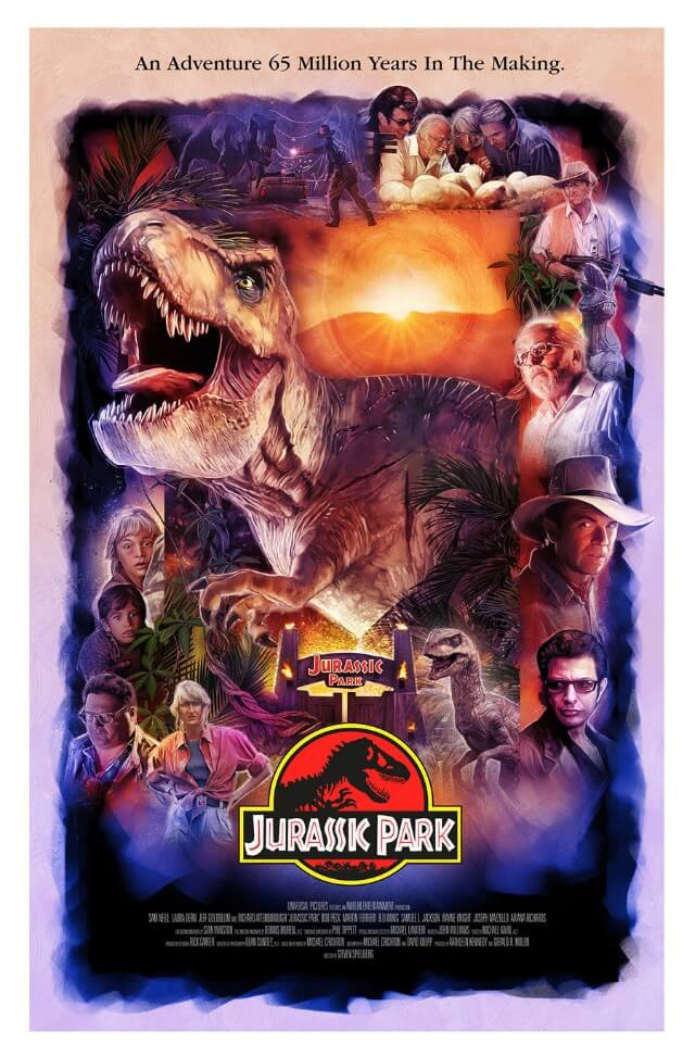 Iconic Movie Poster Remakes: Jurassic Park (1993) Poster by Rich Davies, UK