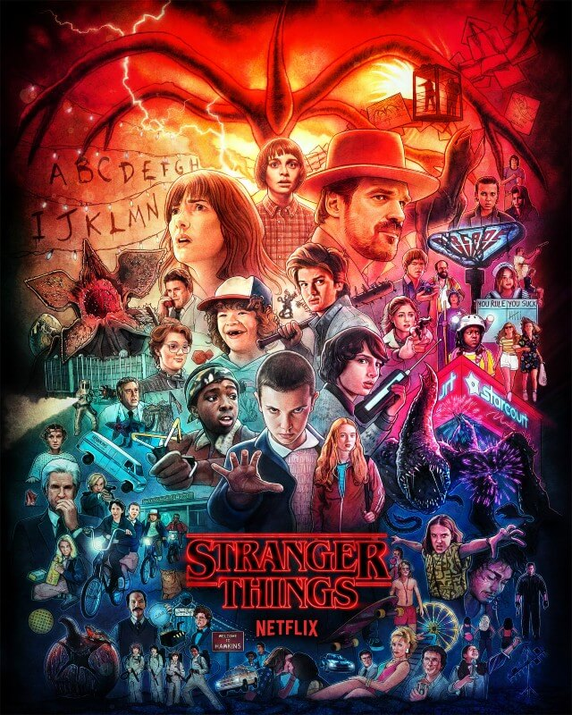 Iconic Movie Poster Remakes: Stranger Things TV Series (2016) - Original Poster by Kyle Lambert, USA