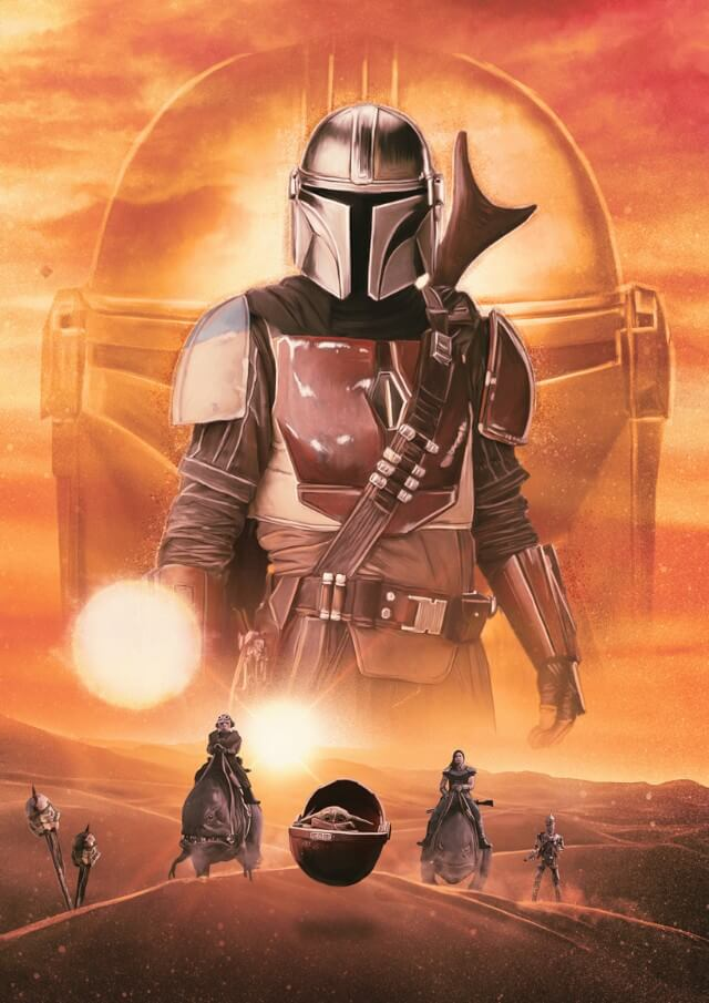 Iconic Movie Poster Remakes: The Mandalorian TV Series (2019) Poster by Rich Davies, UK