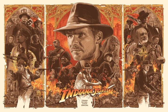 Iconic Movie Poster Remakes: Indiana Jones Trilogy (1981 - 1989) Poster by Grzegorz Domaradzki, Poland