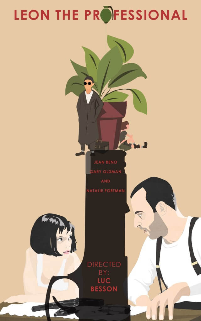 Iconic Movie Poster Remakes: Léon: The Professional (1994) Poster by Mirna Akram, Egypt