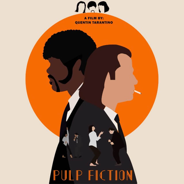Iconic Movie Poster Remakes: Pulp Fiction (1994) Poster by Mirna Akram, Egypt