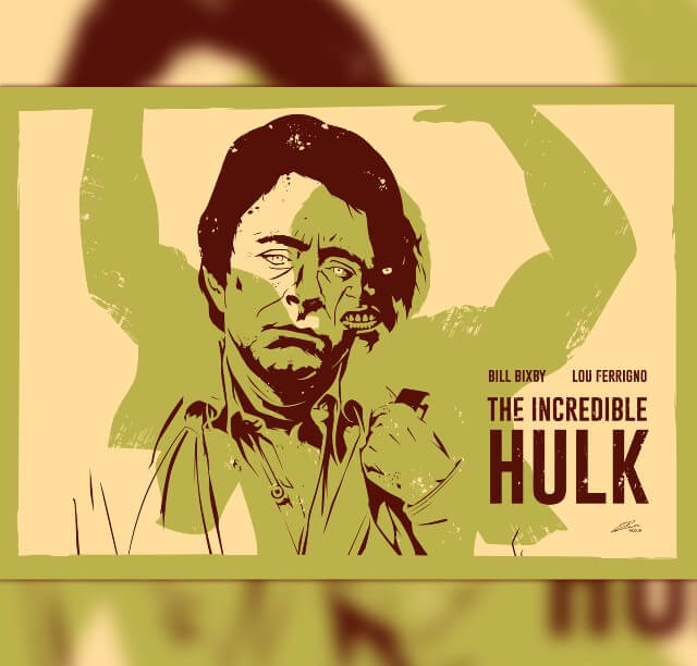 Iconic Movie Poster Remakes: The Incredible Hulk TV Series (1977 - 1982) Movie Poster by Julien Rico Jr, France