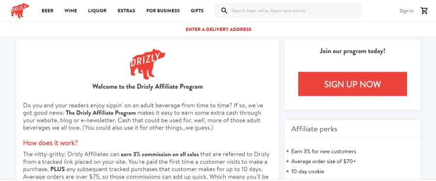 Drizly Affiliate Program on 25 Best Gig Economy App Affiliate Programs for 2021 by Huntlancer