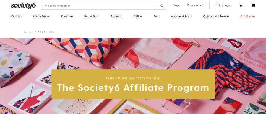 Society6 Affiliate Program on 25 Best Gig Economy App Affiliate Programs for 2021 by Huntlancer