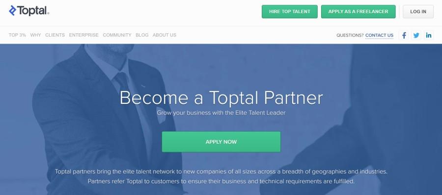 Toptal Affiliate Program on 25 Best Gig Economy App Affiliate Programs for 2021 by Huntlancer
