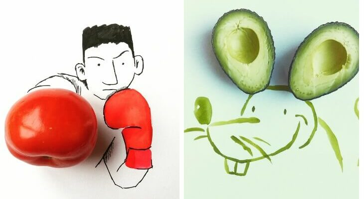 Artist Kristian Mensa creates whimsical art out of food and ordinary objects