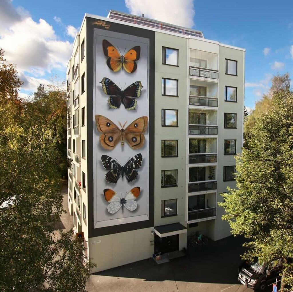 Hyvinkaan perhosia, Hyvinkaa, Finland | Butterfly mural by street artist Mantra