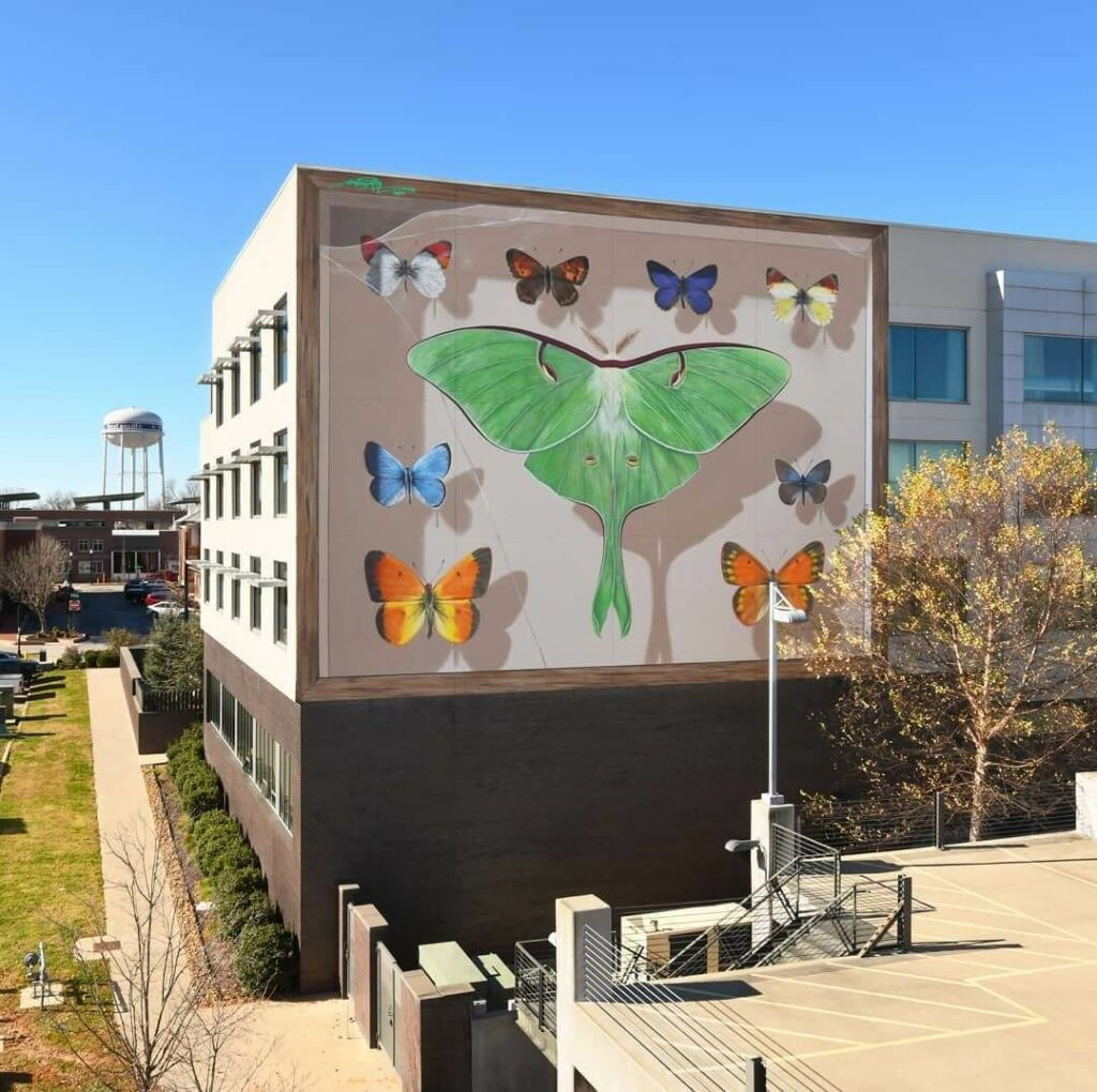 The 21st Collection Bentonville, AR, US | Butterfly mural by street artist Mantra