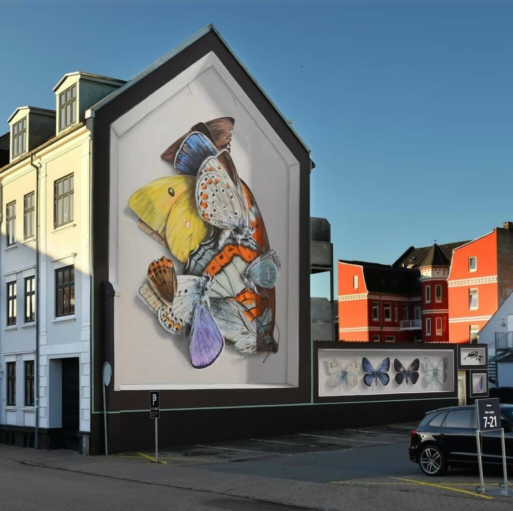The-Sommerfugle Altar, Silkborg, Denmark | Butterfly mural by street artist Mantra