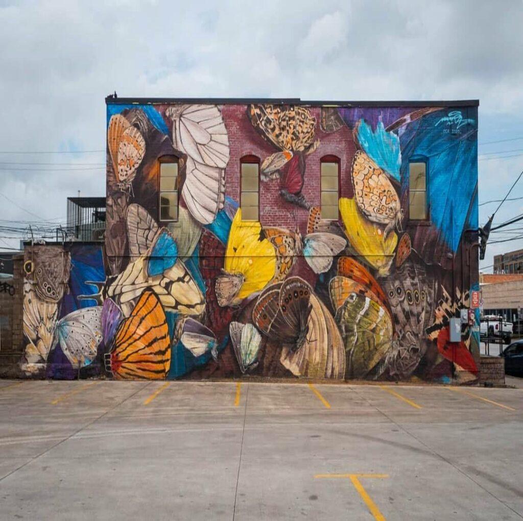 The last butterflies ballet Deep Ellum, Dallas, TX, US | Butterfly mural by street artist Mantra