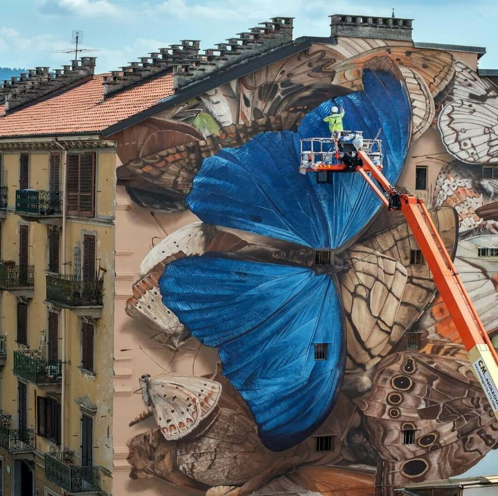 The ode of collapse, Torino, Italy | Butterfly mural by street artist Mantra