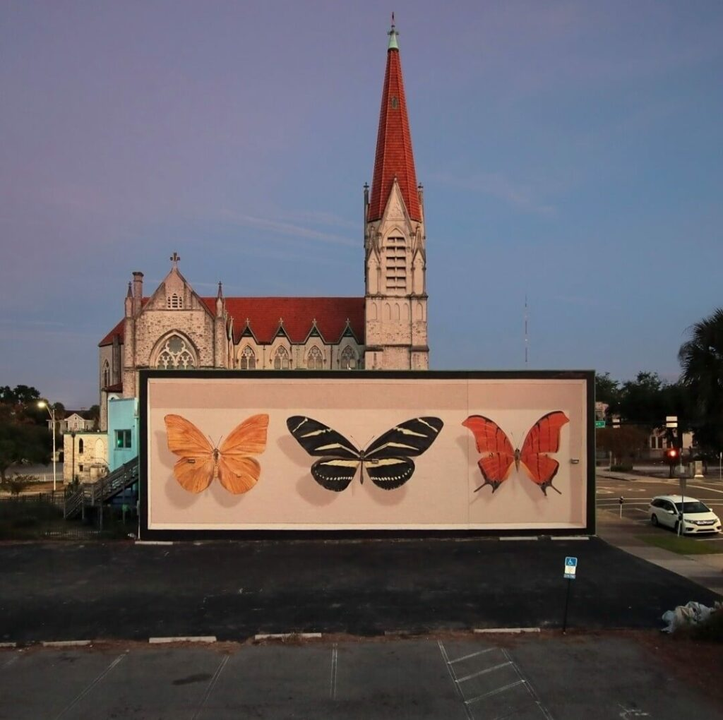Triad, Jacksonville, USA | Butterfly mural by street artist Mantra