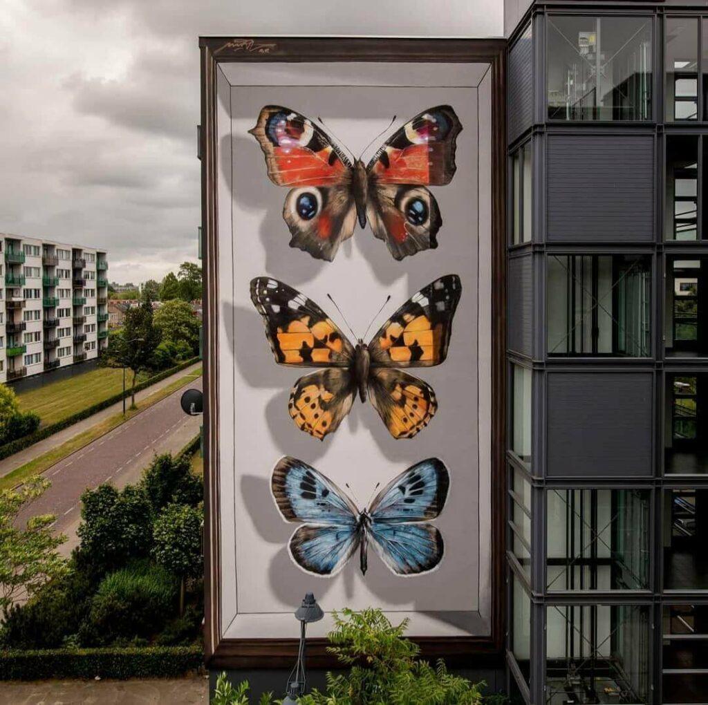 Vlinders van Breda, Breda, Netherlands | Butterfly mural by street artist Mantra